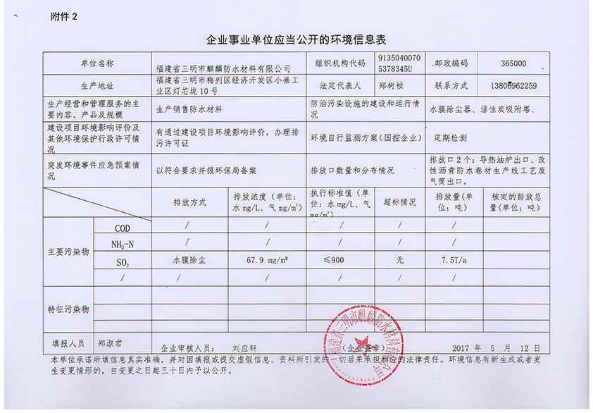 福建省三明市河豚直播在线河豚直播下载安装材料有限公司环境信息表