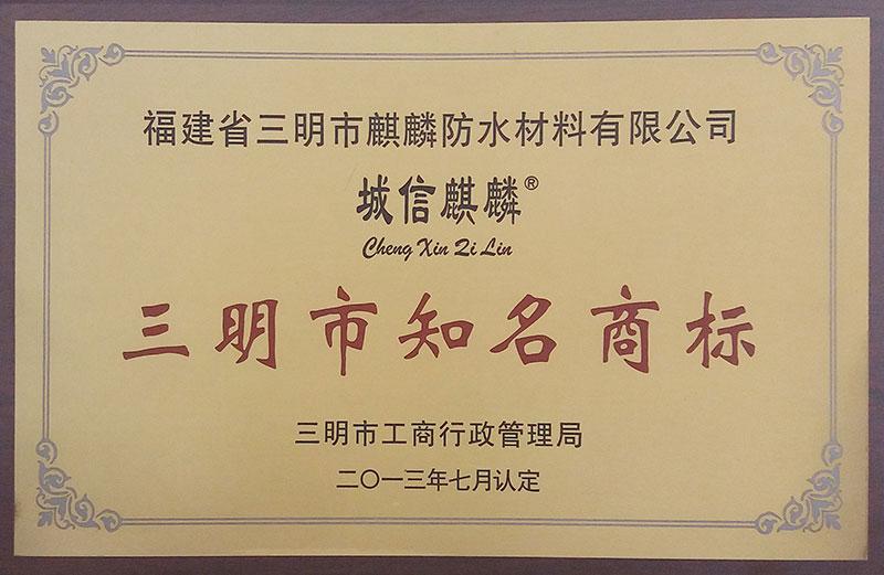 2013年三明知名商标